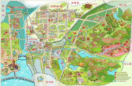 城阳区旅游手绘地图新鲜出炉 吃住玩一目了然 - 青岛